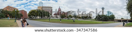 DALLAS, TEXAS, USA - NOV 9: Panorama of the grassy knoll in Dealey Square where President John F. Kennedy was assassinated.  The president was shot by Lee Harvey Oswald.   - stock photo