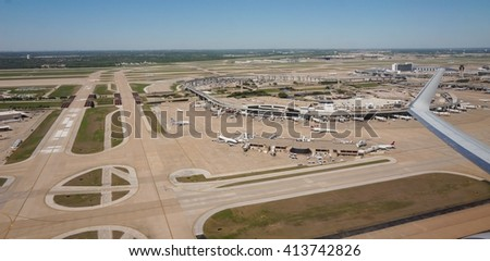 DALLAS, TX -3 APRIL 2016- Opened in 1973, Dallas/Fort Worth International Airport (DFW) is the largest hub for American Airlines (AA). It has five terminals totaling 165 gates connected by Skylink.