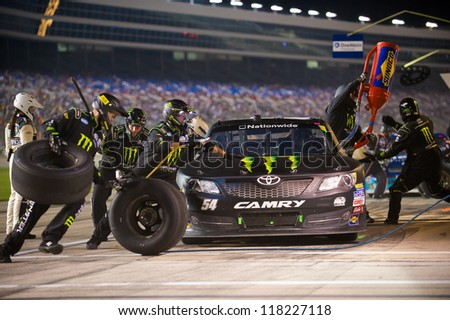 DALLAS, TX - NOVEMBER 03: Kyle Busch during a pit stop at the Nascar Nationwide Race at Texas Motorspeedway in Dallas, TX on November 03, 2012