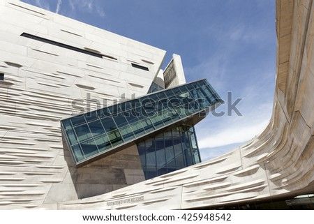 DALLAS, USA - APR 7, 2016: Exterior of the Perot Museum of Nature and Science in Dallas Downtown. Texas, United States