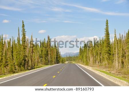 Dalton Highway, polar region in Alaska - stock photo