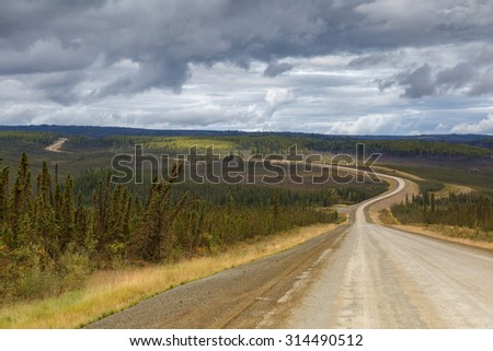 Dalton Highway road to the last frontier - stock photo