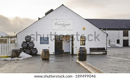 DALWHINNIE, SCOTLAND - DECEMBER 29: exterior of Dalwhinnie Distillery on December 29, 2013 in Dalwhinnie, Scotland. Dalwhinnie Distillery was founded in the late 1890s. - stock photo