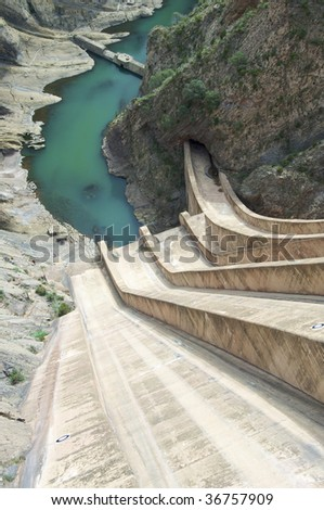 Dam Escales from above - stock photo