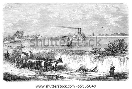 "Dam in Lower Mississippi. Illustration originally published in Hesse-Wartegg's ""Nord Amerika"", swedish edition published in 1880. The image is currently in public domain by the virtue of age. - stock photo"