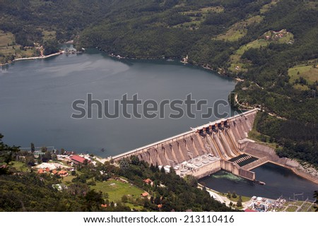 Dam in Serbia, river Drina - stock photo
