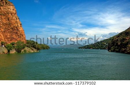 Dam lake Hartbeespoortdam. Crocodile river, near to Johannesburg, South Africa. - stock photo
