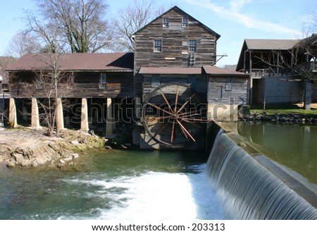 Dam view of Old Mill  Pigeon Forge Tn - stock photo