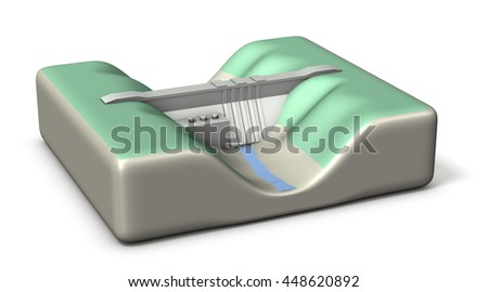 Dam water is insufficient, Miniature architectural models,3D illustration - stock photo