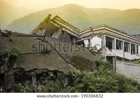 Damage Buildings of Wenchuan Earthquake,China  - stock photo