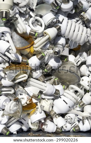Damage light bulbs in trash can, top view
