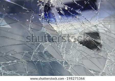 Damage on car, broken glass  - stock photo