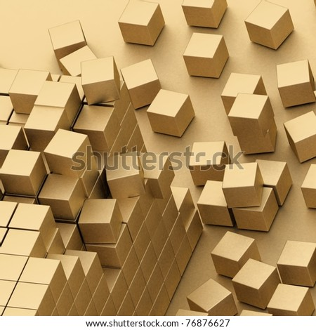damaged assembling of gold blocks - stock photo