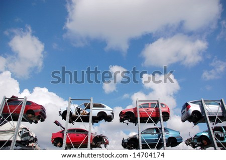Damaged cars used for spare part supply - stock photo