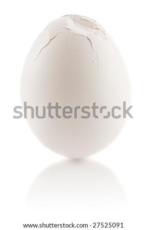 Damaged chicken egg - stock photo