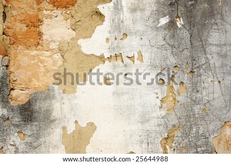 Damaged cracked old wall - stock photo