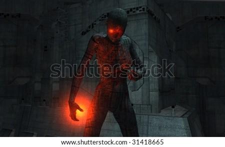 damaged cyborg - stock photo