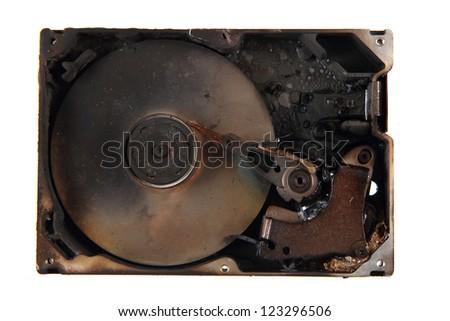 damaged harddrive (data are deleted) - stock photo