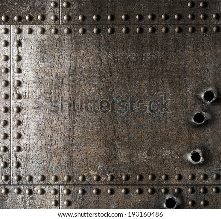 Damaged metal background with bullet holes - stock photo