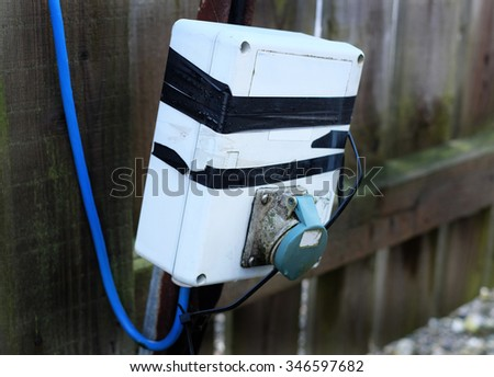 Damaged outdoor electrical supply box.