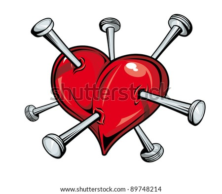 Damaged red heart with nails for love concept. Vector version also available in gallery - stock photo