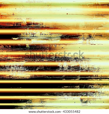 Damaged retro texture with grunge style elements and different color patterns: yellow (beige); brown; green; red (orange); black; white - stock photo