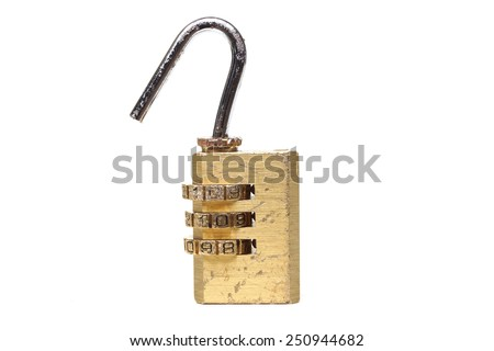 Damaged security lock with password on isolated background - stock photo
