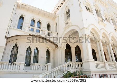Damaged Vergara Palace from 2010 Earthquake - Vina Del Mar - Chile - stock photo