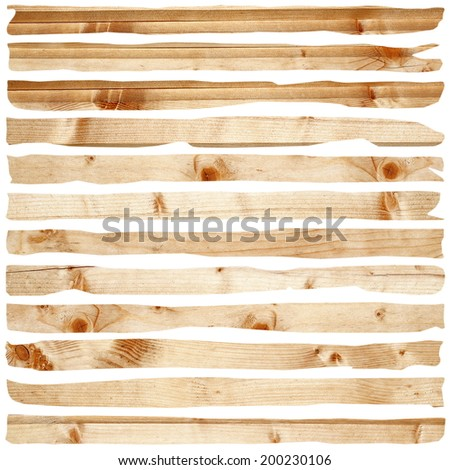 damaged wood pieces of fir planks isolated over white - stock photo
