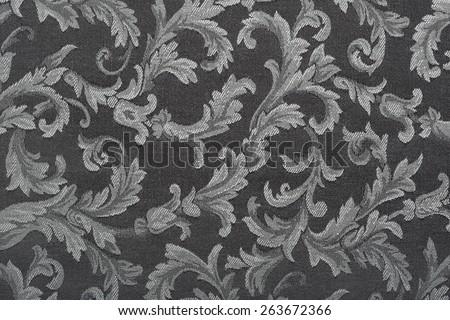 Damask, black, dark floral pattern texture background - stock photo