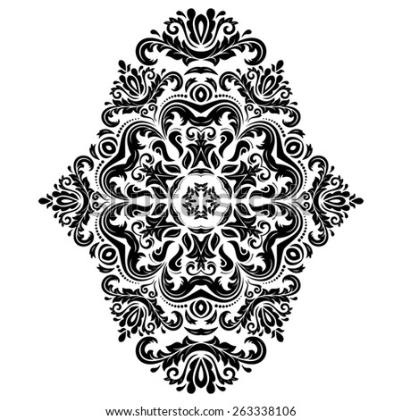 Damask  floral pattern with arabesque and oriental elements. Abstract traditional ornament for wallpapers and backgrounds. Black and white colors - stock photo