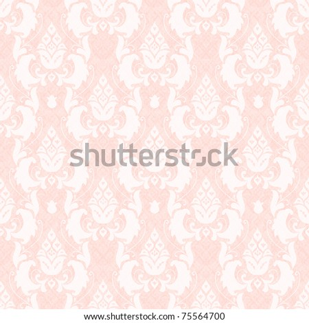 Damask floral seamless pattern in pink - stock photo