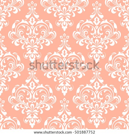 Damask Seamless Floral Pattern Royal Wallpaper Flowers On A Pink Background Luxurious Ornament