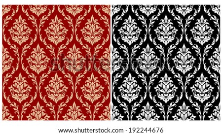 Damask seamless pattern background with decorative floral embellishments. Vector version also available in gallery - stock photo