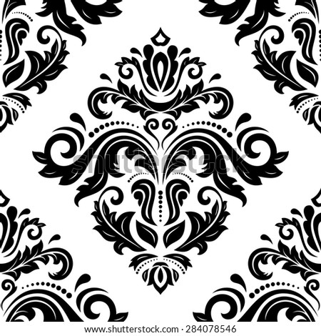 Damask seamless pattern. Fine  traditional ornament with oriental elements. Black and white colors - stock photo