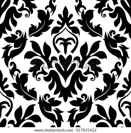 Damask seamless pattern. Raster illustration. - stock photo