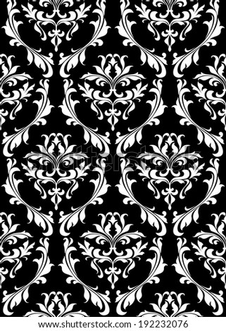 Damask seamless pattern with decorative floral elements. Vector version also available in gallery - stock photo