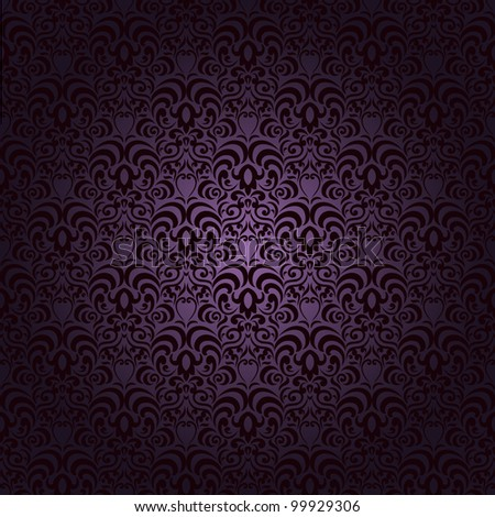 Damask seamless pattern with lot of elements on gradient background - stock photo