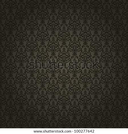 Damask seamless wallpaper on dark  background. Stylish and luxury - stock photo