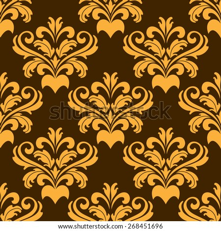 Damask style seamless pattern with a repeat floral motif in yellow on a brown background in square format suitable for textiles - stock photo