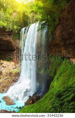 Dambri waterfall in central highland of Vietnam - stock photo