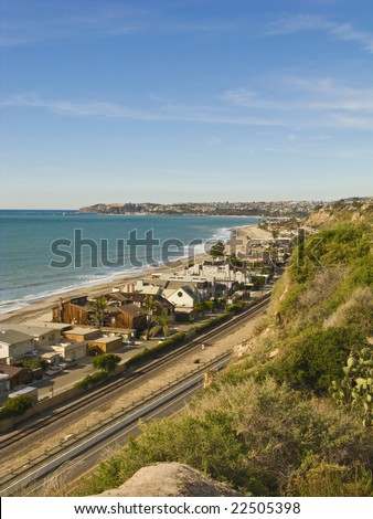 Dana Point looking North from Capistrano Beach in a Vertical Orientation - stock photo