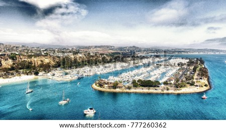 Dana Point port and boats, aerial view - California.