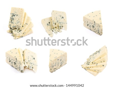 Danablue danish blue semi-soft cheese in different foreshortenings isolated over white background, set of six - stock photo