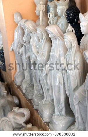 DANANG, VIETNAM  - FEB 4, 2015 - Marble statues of  the Virgin Mary, Danang,  Vietnam