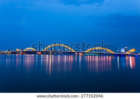 DANANG, VIETNAM, MAY 07, 2015. Dragon River Bridge ( Rong Bridge) in Da Nang, Vietnam