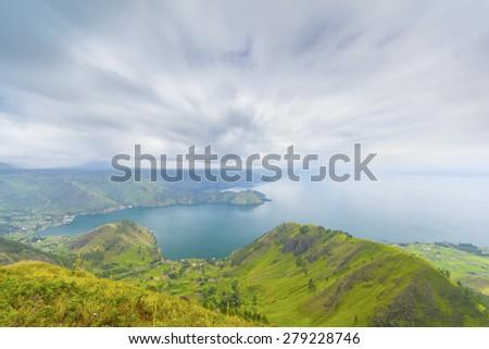 danau toba lake from highland view - stock photo