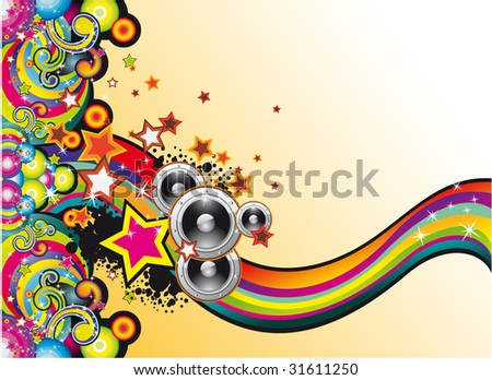 Dance and Music Background with Colorful Rainbow and Stars - stock photo