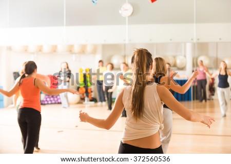 Dance class for women - stock photo