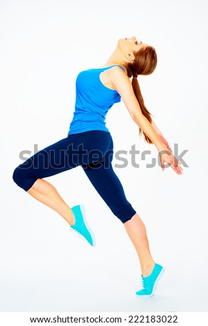 dance fitness woman portrait.  white background isolated - stock photo